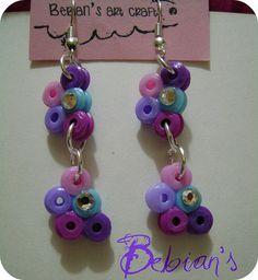 Aretes mini arcoiris hama beads by Bebian's