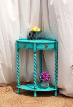 Turquoise Corner Table by MontucciDesigns on Etsy
