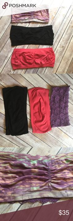 Bundle of Bandeaus The coral one is Victoria's Secret, the black one is Jenni, and the purple tie-dye and lace is Free People. The black and coral are in very good condition, maybe worn once or twice. The Free People Bandeau is basically a little lagniappe or freebie. It's missing some stitching and has some holes in the lace, but it's so cute, I thought I'd throw it in with this lot. Free People Intimates & Sleepwear Bandeaus