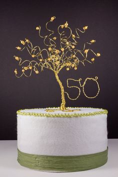 50th Anniversary Cake Topper Gold Tree Sculpture by NouveauTique, $55.00