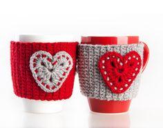 Crochet mug cozy warmer Mug warmer heart cup by LittleKnittedThing Crochet Christmas Cozy, Crochet Coffee Cozy, Crochet Cozy, Christmas Crochet Patterns, Crochet Gifts, Hand Crochet, Diy Christmas, Christmas Stockings, Crochet Flowers