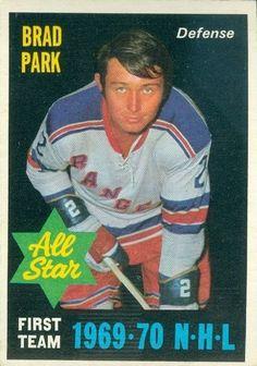 Brad Park, New York Rangers - O-Pee-Chee All-Star hockey card. Brad Park, Der Club, Hockey Hall Of Fame, Stars Hockey, Boston Bruins Hockey, Rangers Hockey, Hockey Games, New York Rangers, Hockey Players