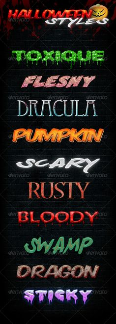 Buy 10 Halloween Styles by pixel_lady on GraphicRiver. Just one click applicable. All styles are made of 1 layer only. Photoshop, Halloween Fashion, Text Style, Text Effects, Typography, Ads, Halloween Horror, Dracula, Reading