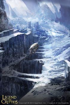 Artist: Leetai Kim aka On Sak - Title: Glacial Age - Event: Unknown High Fantasy, Sci Fi Fantasy, Fantasy World, Environment Painting, Environment Concept Art, Fantasy Concept Art, Fantasy Artwork, Fantasy Illustration, Landscape Illustration