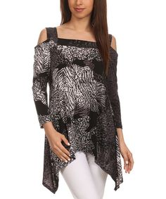 Loving this Black & Gray Abstract Cutout Sidetail Top - Women & Plus on #zulily! #zulilyfinds
