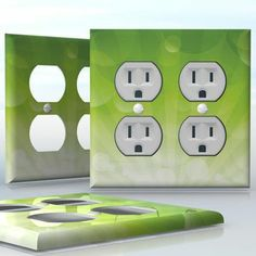 DIY Do It Yourself Home Decor - Easy to apply wall plate wraps | Sunrise in an Other Planet  Green and yellow half circles  wallplate skin sticker for 2 Gang Wall Socket Duplex Receptacle | On SALE now only $4.95