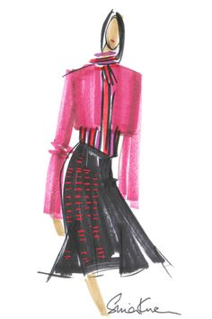Sneak peek at the fashion illustrations from L'Wren Scott's holiday collection for Banana Republic