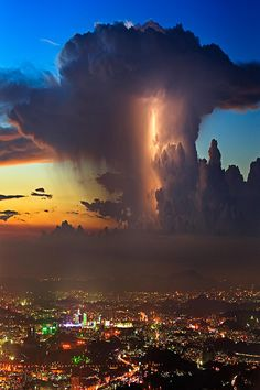 Lightning and storm clouds.
