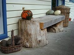 Rustic bench from logs
