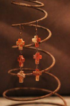Orange Dangle Cross Earrings