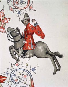 Canterbury Tales horse rider close up Medieval Horse, Medieval Art, Illuminated Letters, Illuminated Manuscript, Chaucer Canterbury Tales, Renaissance, 14th Century Clothing, Geoffrey Chaucer, High Middle Ages