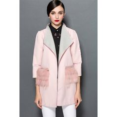 Pink Womens Fashion Faux Fur Patchwork Wool Coat (395 ILS) ❤ liked on Polyvore featuring outerwear, coats, pink, pink coat, wool coat, woolen coat, faux fur coats and pink faux fur coat