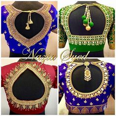 Stunning bridal designer blouse collection with hand embroidery thread bead and kundan work. Enrich your ethnic look in these semi- bridal blouses by Nazia Syed. Call/ Whatsapp son 9790826888 to place your orders. Hand Work Blouse Design, Simple Blouse Designs, Stylish Blouse Design, Wedding Saree Blouse Designs, Saree Blouse Neck Designs, Dress Neck Designs, New Embroidery Designs, Embroidery Thread, Designer Blouse Patterns