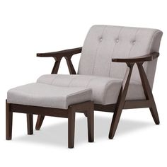 Found it at Wayfair - Enrico Mid-Century Modern Wood Fabric Lounge Chair and Ottoman