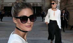 Olivia Palermo wears a trendy choker necklace for Paris Fashion Week