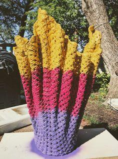 """Cement /crochet blanket outdoor, indoor flowers planter, lamp 2 feet, 6""""high """"Maykascreation"""" Vesna Danilovski"""