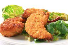 Grainless Chicken Strips Ingredients: chicken, almond flour, onion powder, salt, pepper, optional (tex mex seasoning for later phases), eggs