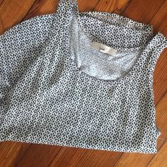 LOFT patterned tank top LOFT gray, white and black patterned tank, silky front and cotton back. Worn very few times, perfect condition! LOFT Tops Tank Tops