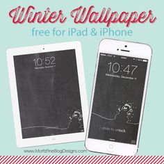 Winter Chalkboard iPhone & iPad Wallpaper. Free for you to download and use!