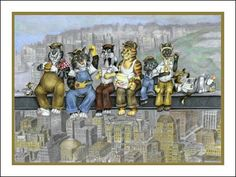 "Lunch on a Skyscraper was inspired by the 1940's photograph ""Lunch Atop a Skyscraper"". This piece is the first in my Working Class Cats series. You can see the work in progress on my website a..."