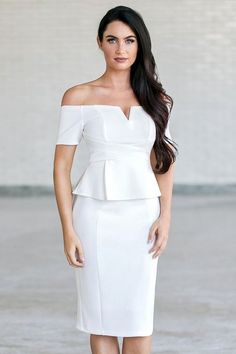 We adore this preppy peplum dress! The Posh and Pretty Peplum Off Shoulder Dress is fully lined. It has off shoulder sleeves, pencil cut midi length and a V dip neckline. Boutique Dresses, Boutique Clothing, Lily Boutique, White Off Shoulder, Shoulder Dress, Sheath Dress, Peplum Dress, Dresser, White Peplum