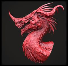 Dragon's head. Red.