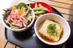 Salad, edamame and agedashi tofu - Izakaya Samurai, Neutral Bay Edamame, Tofu, Samurai, Sydney, Neutral, Salad, Eat, Ethnic Recipes, Salads