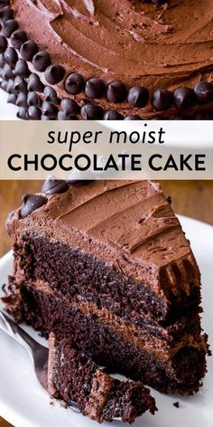 This is my favorite homemade chocolate cake recipe. With a super moist crumb and light texture, this rich chocolate cake recipe will soon be your favorite too. Top with chocolate buttercream. Recipe on sallysbakingaddiction.com #chocolatecake #baking #chocolatelovers Cupcake Recipes, Cupcake Cakes, Cupcakes, Bundt Cakes, Layer Cakes, Frosting Recipes, Dessert Recipes, Homemade Chocolate, Chocolate Recipes