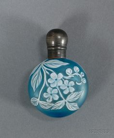 Turquoise Cameo Glass Perfume Bottle With An Overlay Of Flowers And Vines In White Glass, Silver Cap -  Attributed to Thomas Webb - English   c.1908