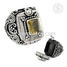 Big Fabulous!! 925 Sterling Silver Citrine Poison Ring