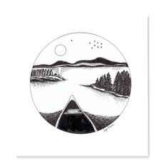Archival quality print of my original pen and ink drawing I did from one of my canoe trips in northern Ontario. Gallery quality Giclée print on ultra smooth, cotton rag, using Epson archival inks Print Size x cm x 25 cm) Ink Drawings, Love Drawings, Circle Drawing, Stick N Poke, Canoe Trip, Canoe Boat, Canoe Camping, Plant Drawing, Drawing Flowers