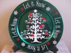 Christmas Charger Plate with Vinyl by TheSaltyKiss on Etsy, $10.00