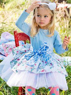 Dresses - Winter - Ella Blue Painted Floral Dress - Oobi.com.au Boho Flower Girl, Winter Dresses, Matilda, Cute Kids, Ivy, Harajuku, Bohemian, Gift Ideas, Floral