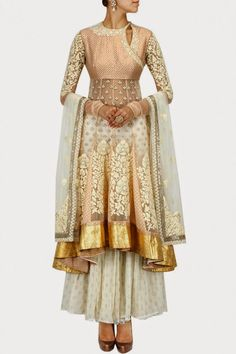 Indian Wedding Suits - Anarkali | Beautiful Off White Net Anarkali with Gold Blouse and Off White Sharara | WedMeGood