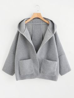 Shop Drop Shoulder Dual Pocket Hooded Coat at ROMWE, discover more fashion styles online. Winter Outfits, Kids Outfits, Cute Outfits, Korean Girl Fashion, Clothing Photography, Coats For Women, Shorts, Clothes, Gray Coat