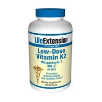 Life Extension Low-dose Vitamin K2, Softgels, 90-Count by Life Extension. $13.50. Promotes Arterial Health and Healthy Bones. Menaquinone-7 (MK-7) 45mcg. Dietary Supplement. This product contains no milk, egg, fish, peanuts, crustacean shellfish (lobster, crab, shrimp), soybeans, wheat, yeast, gluten, corn, or rice. Contains no sugar and no artificial sweeteners, flavors, colors, or preservatives. Save 31% Off!
