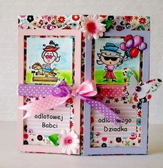 dla Babci i Dziadka/ for grandma and grandpa/marker Tombow coloring Grandma And Grandpa, Tombow, Markers, Origami, Scrapbooking, Gift Wrapping, Frame, Gifts, Handmade Cards