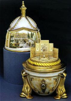 The Peterhof Egg Date 1997 Work-master Theo Fabergé Media gold, vermeil, sterling silver, bone China Size 19 cm tall Techniques painting, sculpture Edition 500 pieces Value US$ 5,250 Kept in Private collection