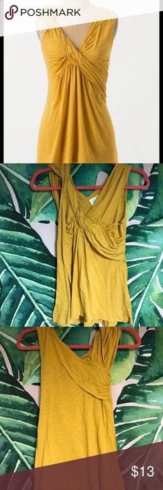 Anthropologie Deletta twist and flounce tank Ethereal golden yellow top. Wearing it makes me feel like a Grecian goddess! Excellent used condition. XS But fits more like a small. Anthropologie Tops Blouses
