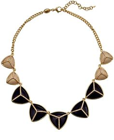 Fossil Pyramid Gold Tone and Black Necklace