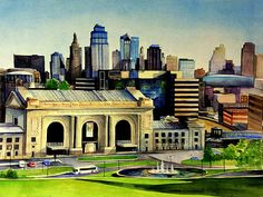Commissioned watercolor of Kansas City skyline