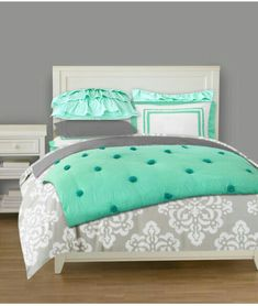Love these colors. Mint and grey bedding for a teen girl's room