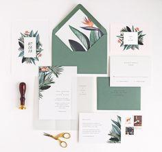 Tropical Wedding Invitations, Rachel Marvin Creative, birds of paradise, palm leaves, modern, minimal #weddinginvitation