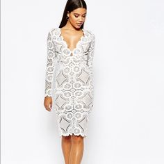 White V neck midi dress White crochet V neck midi dress. I only wore it once and didn't like the fit on me. It's a really beautiful dress, guaranteed to get compliments throughout the night! UK size 12, US size 8 ASOS Dresses Midi