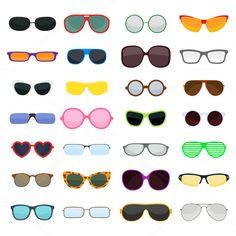 bb032c4a18e Vector fashion glasses collection by vectorstockstoker on  creativemarket  Swimwear