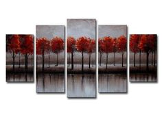 Canvas Oil Paintings Red Forest Canvas Oil Painting | 5 Panel | 1239 - HYGGE ARTWORKS