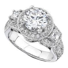 Vintage Diamond Halo Engagement Ring Trapezoids side stones