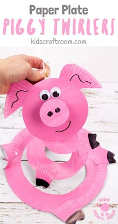 Paper Plate Pig Twirlers are adorable! This simple pig craft is really quick and easy to make. Hold your pig twirler craft up and give it a blow to see it spin round and round. Such a fun paper plate craft for kids. Great for farm animal themes and Chinese year of the pig. #kidscraftroom #pigcrafts #pigs #paperplates #paperplatecrafts #twirlers #whirligigs #preschoolcrafts #toddlercrafts via @KidsCraftRoom