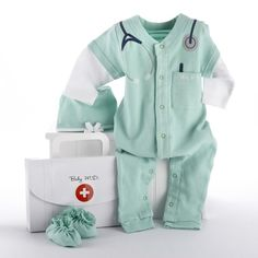 Baby Aspen Big Dreamzzz Baby M. Layette Set with Gift Box, Green, Months - - Baby Aspen Big Dreamzzz Baby M. Three-Piece Layette Set in Doctor's Bag Gift BoxCalling all newborn medical professionals. Baby Set, Baby Gift Sets, Baby Outfits, Baby Monat Für Monat, Doctor Costume, Dr Costume, Boy Costumes, Baby Layette, Baby Newborn