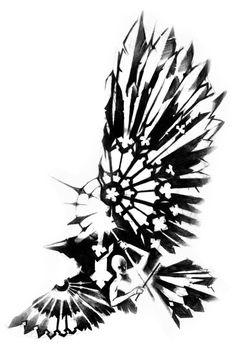 Thin Stylized Phoenix Bird Tattoo Design photo - 3